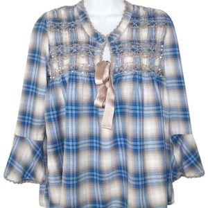 Sundance Plaid Cotton Flannel Boho Top